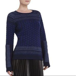 BCBGMaxAzria Blue Reona Textured Jacquard Pullover